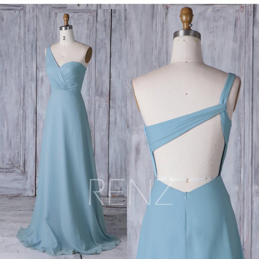 1547ad1582f5 Dusty Blue Chiffon Bridesmaid Dresses