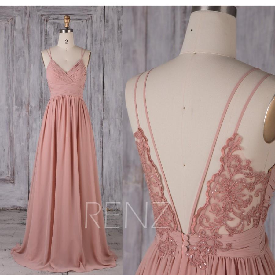 Mariage - Bridesmaid Dress Blush Chiffon Dress,Wedding Dress,Spaghetti Strap Prom Dress,Ruched V Neck Maxi Dress,Open Back A-line Party Dress(H549B)