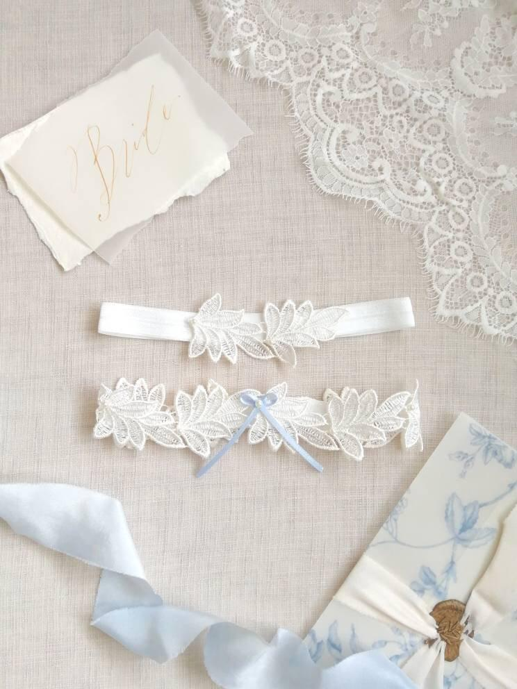 Wedding - Lace leaf wedding garter set with blue bow for bride