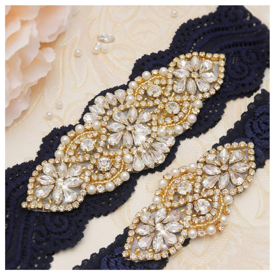 Свадьба - Bridal Garters Sets, Pearls And Gold Rhinestones Garter ,Stretch Navy Lace Bridal Garter, Wedding Garters Sets  YS852913