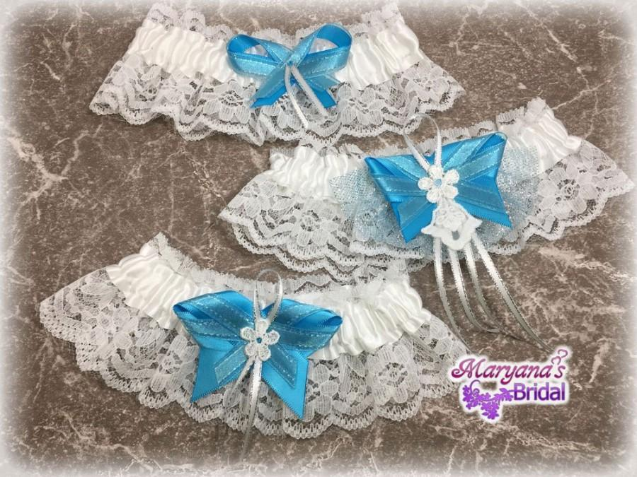 Свадьба - Turquoise blue wedding garters Blue wedding garters Turquoise sparkle wedding garters Beach wedding garters Disney blue wedding garters