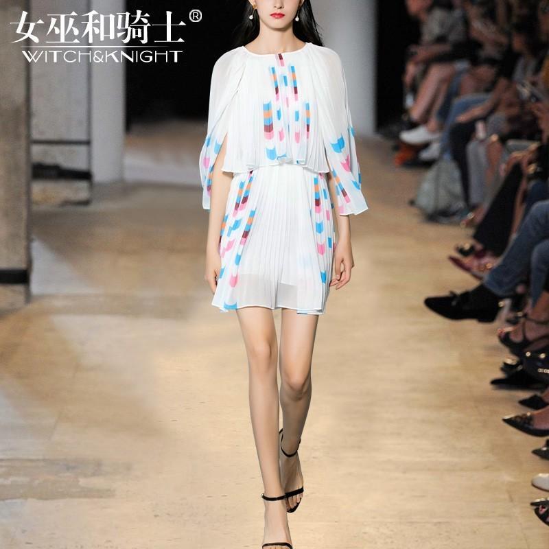 Wedding - Printed Slimming Scoop Neck 3/4 Sleeves Chiffon Summer Fancy Dress Skirt - Bonny YZOZO Boutique Store