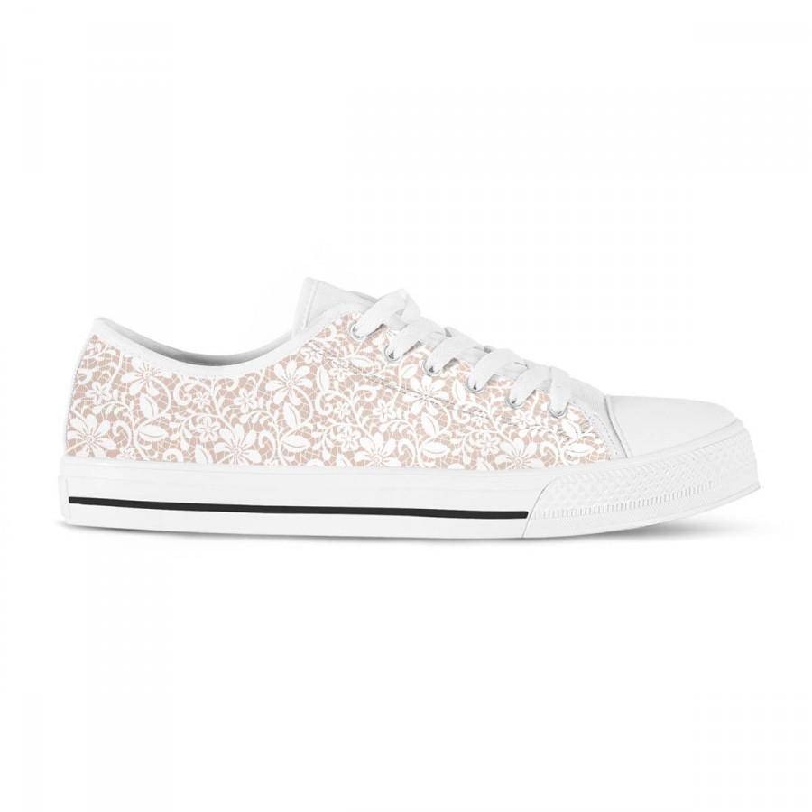 Hochzeit - White lace bridal sneakers, wedding flats, tennis shoes for bride