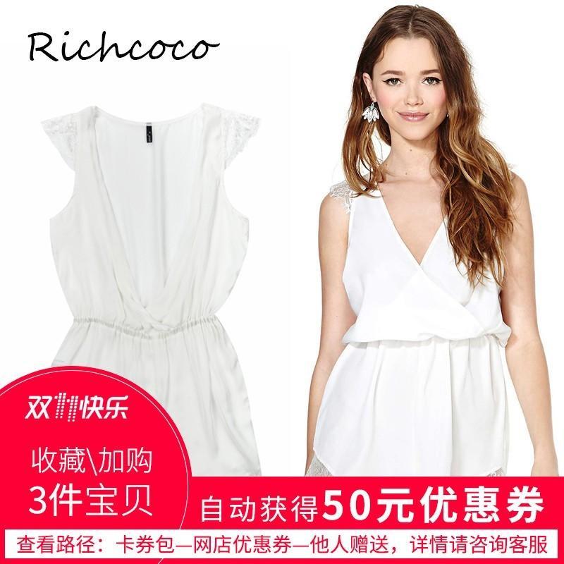 Mariage - Sexy Split Front V-neck Sleeveless Chiffon White Summer Lace Jumpsuit Short - Bonny YZOZO Boutique Store