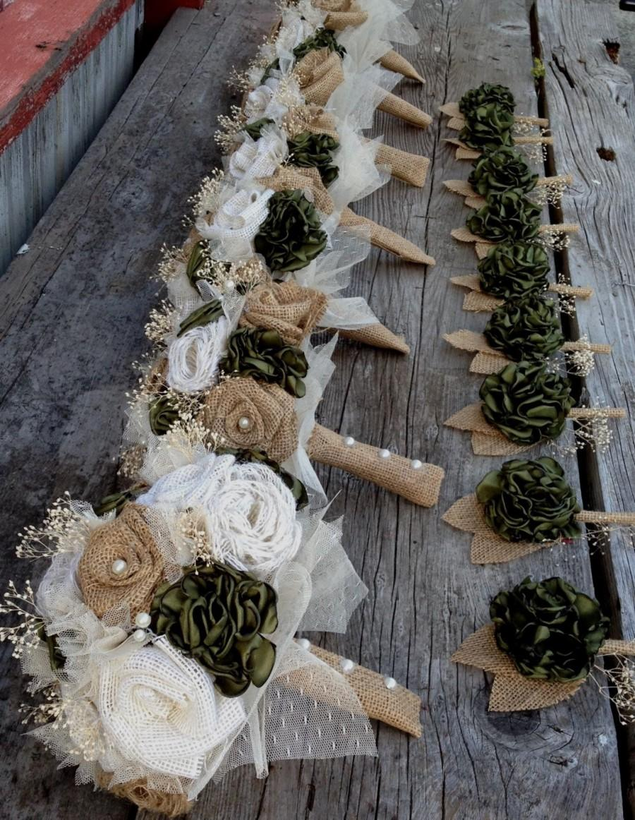 Wedding - Beautiful bridal bouquets with handmade silk and burlap flowers(listing is for one bridal bouquet)