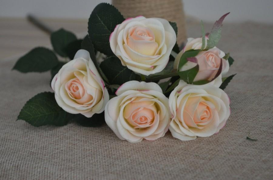 Wedding - Blush Real Touch Silk Roses Spray DIY Wedding Centerpieces Silk Bouquets-5 flowers each spray