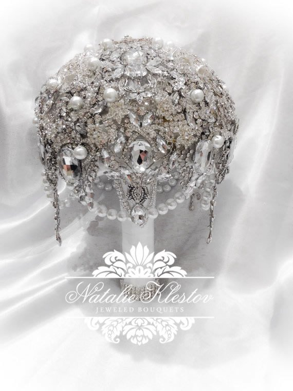 Wedding - The White Silver Art Deco Deluxe Brooch Bouquet. FULL PRICE on Great Gatsby Vintage Diamond Jeweled Crystal Pearl Broach Bouquet