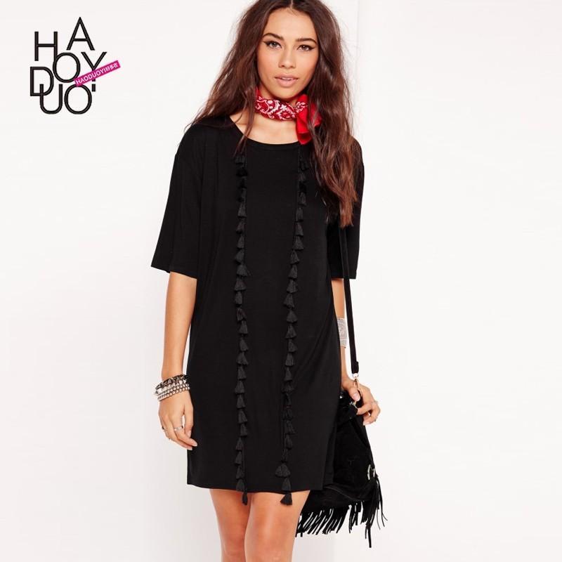 زفاف - Vogue Fringe 1/2 Sleeves Accessories Summer Casual Dress - Bonny YZOZO Boutique Store