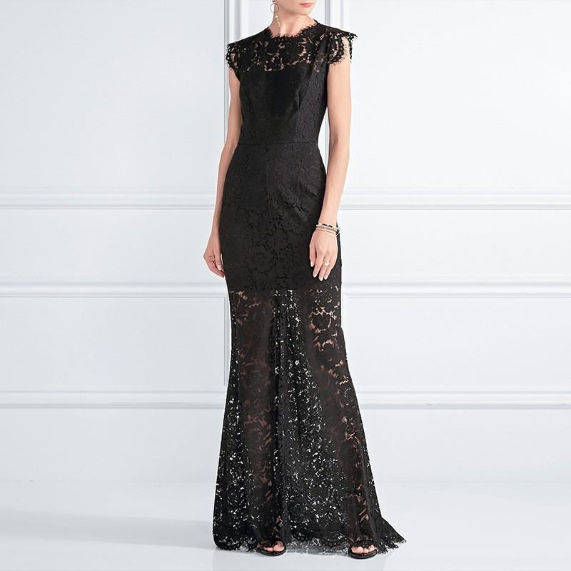 Свадьба - Vogue Sexy Curvy Mermaid Sleeveless Trail Dress Winter Lace Dress - Bonny YZOZO Boutique Store