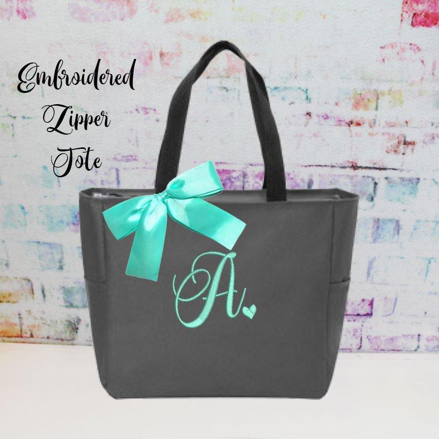 زفاف - Monogrammed Bag, Zippered Personalized Tote, Initial Tote Bag, Bridesmaid Gift