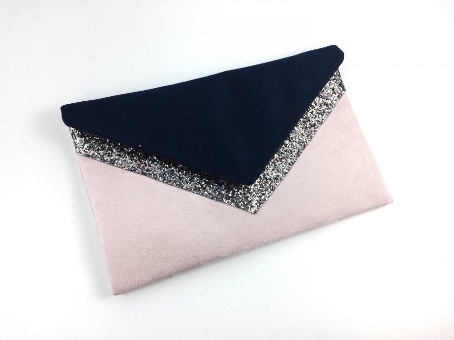 زفاف - Navy Blue, powder pink wedding clutch bag pink silver glitter - bridesmaid