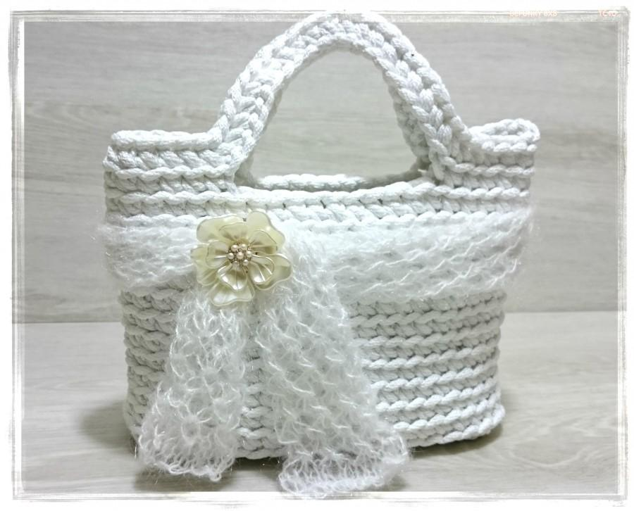 Свадьба - Conceal Carry Purse Bridal tote Women Lunch Bag Crochet camera case Knit bridesmaid clutch Beach bag Flower girl handbag Evening prom Purse
