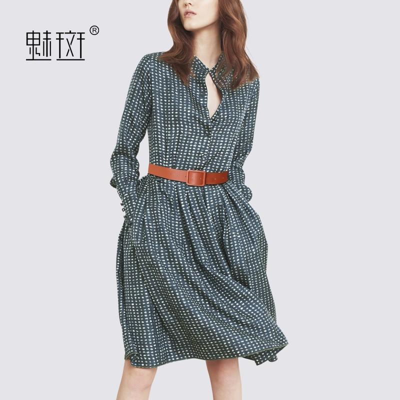 Printed Slimming Plus Size Fine Lady 9/10 Sleeves Dress Basics ...