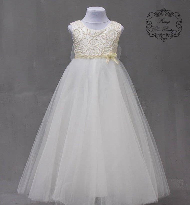 99e68e7f2dc1 Princess dress toddler ivory pearl flower girl dresses tulle beige dress  girl first communion dress girls communion junior lace flower girl