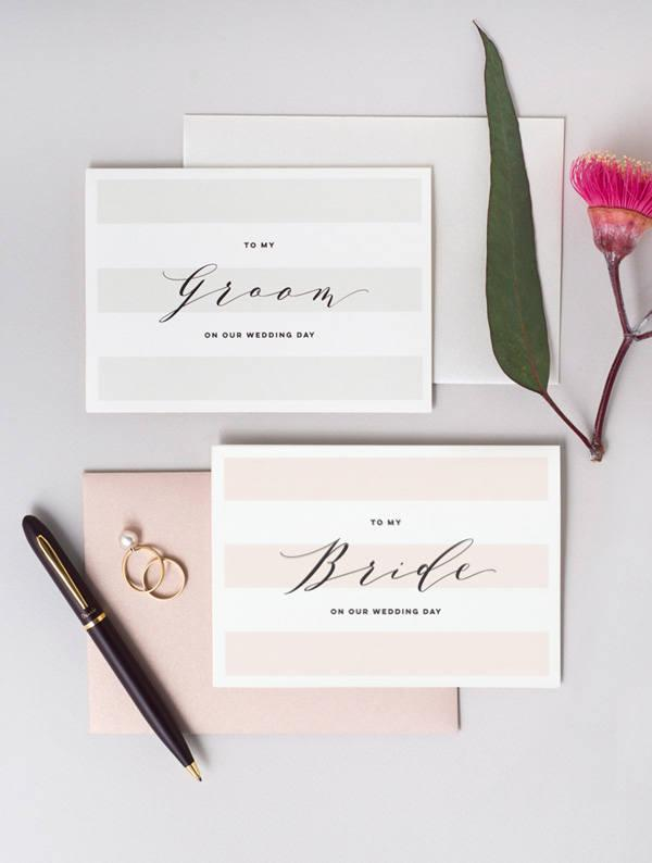Hochzeit - To My Bride To My Groom On Our Wedding Day Card - 2 Pack