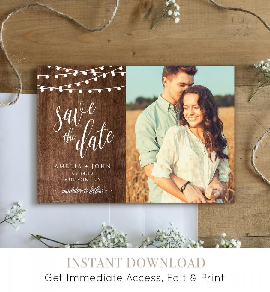 Свадьба - Rustic Save the Date Template, Printable Photo Card, 100% Editable, String Lights & Wood Background, Instant Download, Templett #014-205SD