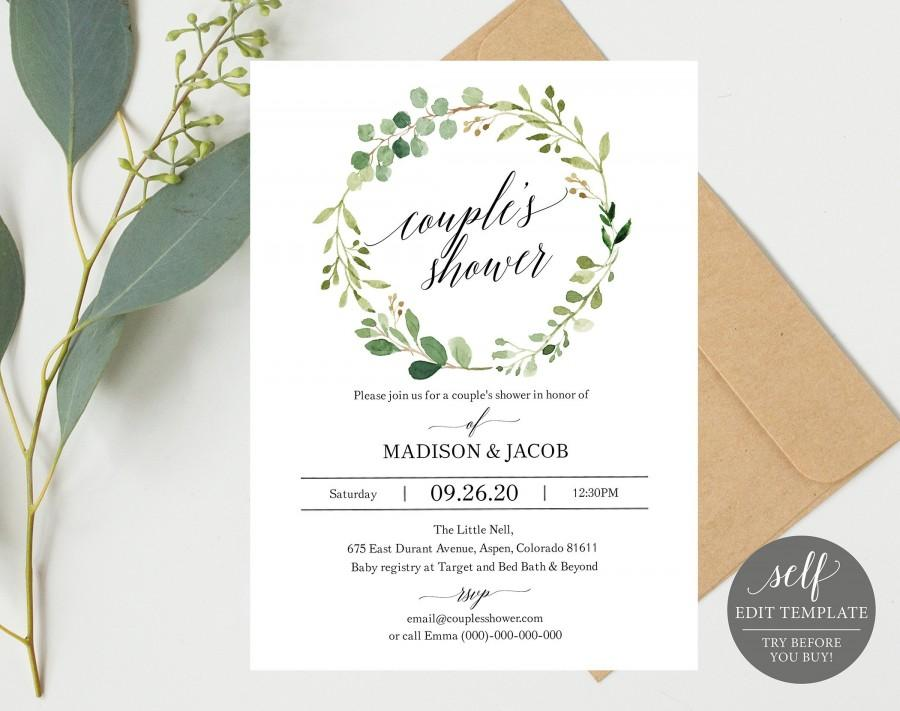 Свадьба - Greenery Wedding Couples Shower Invitation Template, Printable Couples Shower Invite, Editable Wedding Shower, Instant Download