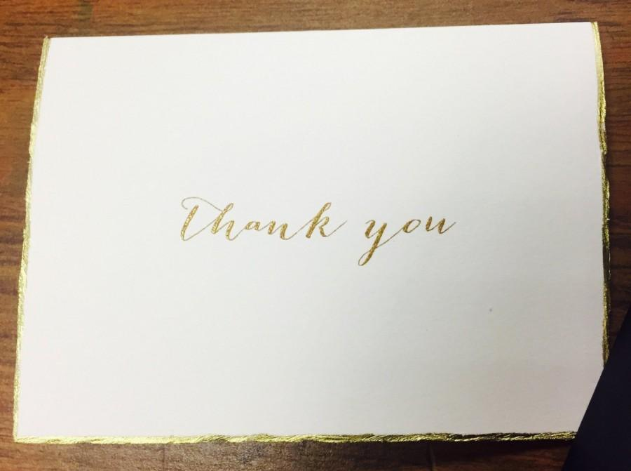 Hochzeit - Gold Deckle Edge Thank You Card + Envelope