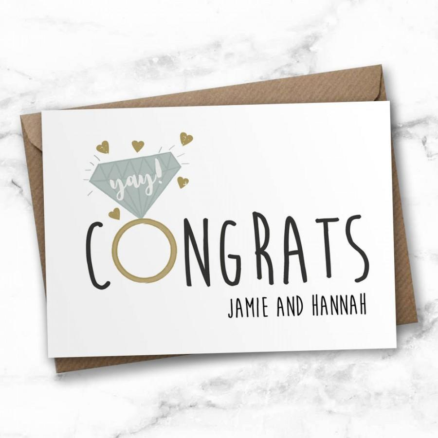 Wedding - Personalised engagement card, congratulations card, wedding card