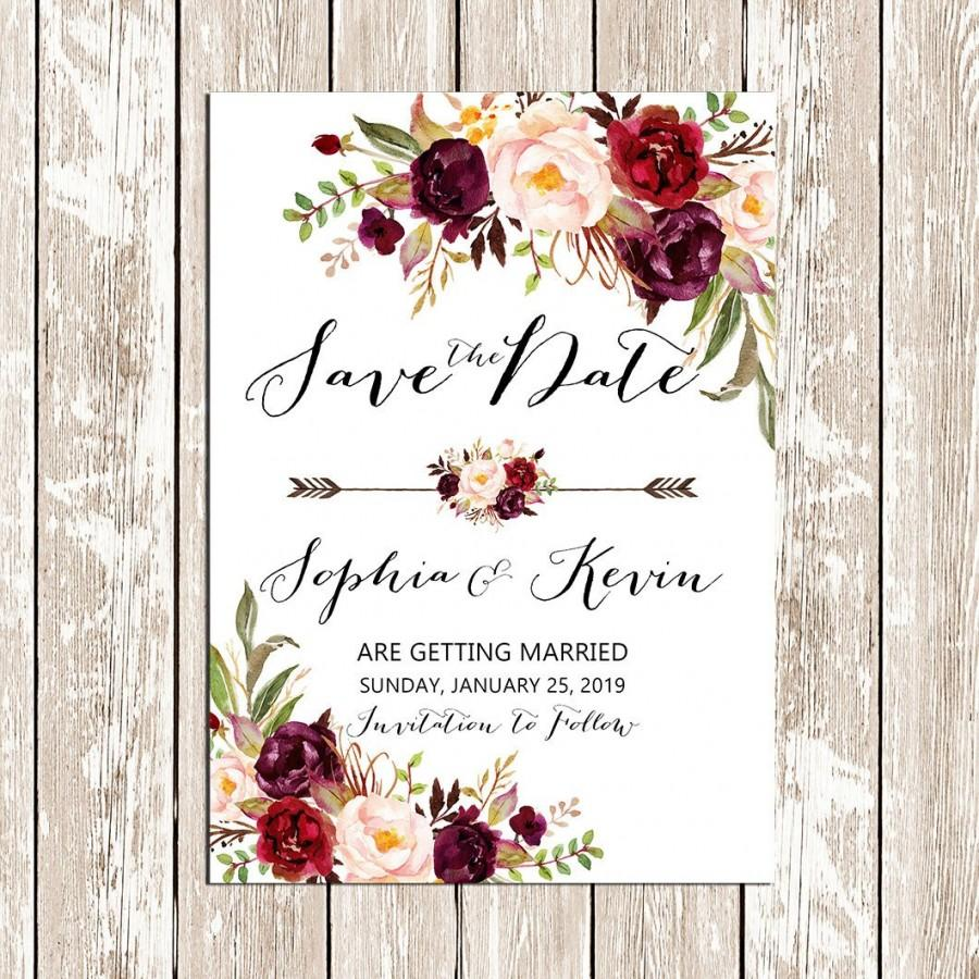 Свадьба - Printable Save the date Wedding Burgundy Purple and Pink Invitation Boho floral Rustic Wedding Invites DIY Bohemian Wedding - BPF-23