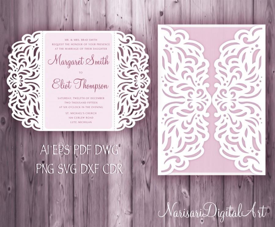 Hochzeit - Wedding invitation 5x7'' Gate fold Card Template, Quinceanera Invitation, laser cut, SVG cutting file, Silhouette Cameo, Cricut