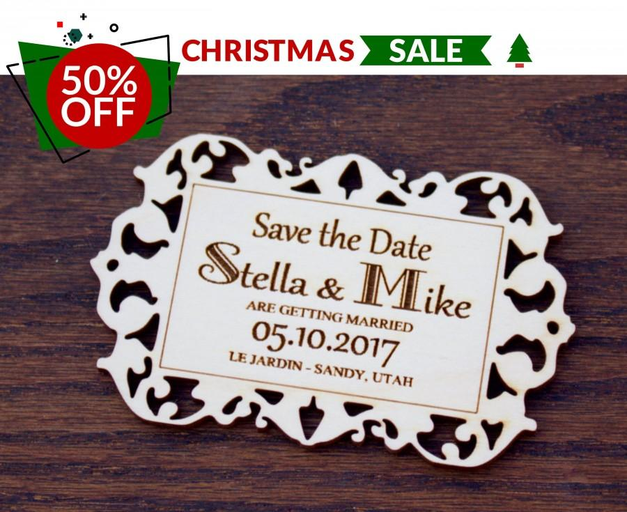 Wedding - Wood Save the Date Magnets, Rustic Save the Date, Laser Engraved Card, Venue Location, Wedding Website, Vintage Invitation, Backyard Wedding