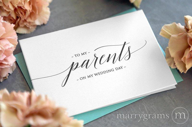 Wedding - Wedding Card to Your Parents - On My Wedding Day Keepsake Thank You Cards - Special Note to go w Gift for Parents of the Bride or Groom CS13