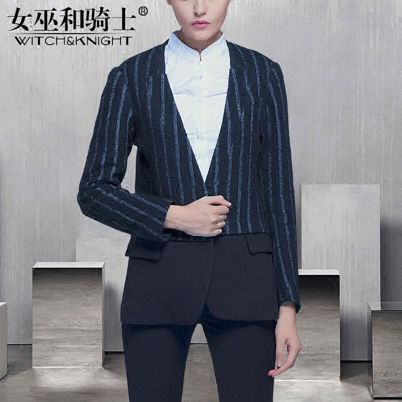 Mariage - Vogue V-neck Wool 9/10 Sleeves Stripped Wool Coat - Bonny YZOZO Boutique Store