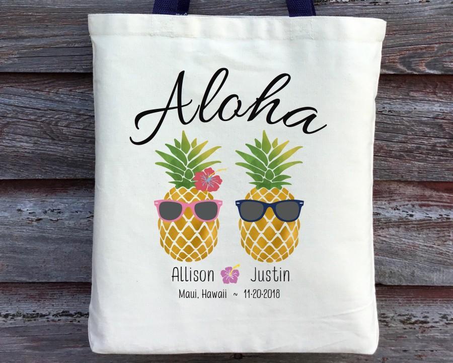 زفاف - Hawaii Wedding Tote, Aloha Wedding Tote, Pineapple Wedding Tote, Hawaii Wedding Welcome Bag, Hawaii Wedding Guest Bag, Beach Wedding