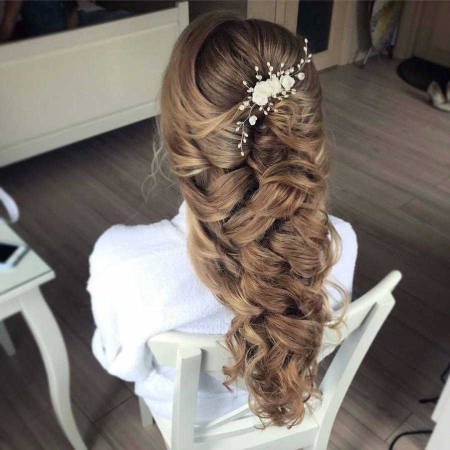 زفاف - Bridal pearl silk flower hair piece