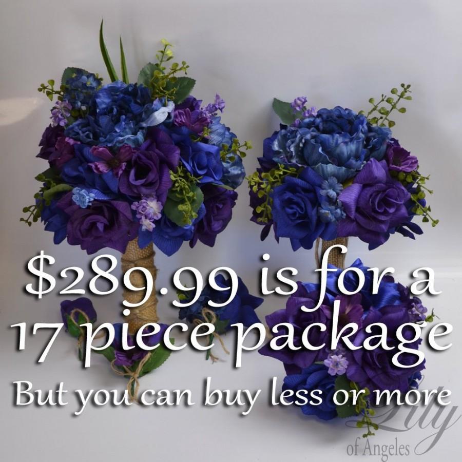 Свадьба - Wedding Bouquet, Bridal Bouquet, Bridesmaid Bouquet, Silk Flower Bouquet, Wedding Flower, Silk Bouquet, Purple, Navy, Royal, Lily of Angeles
