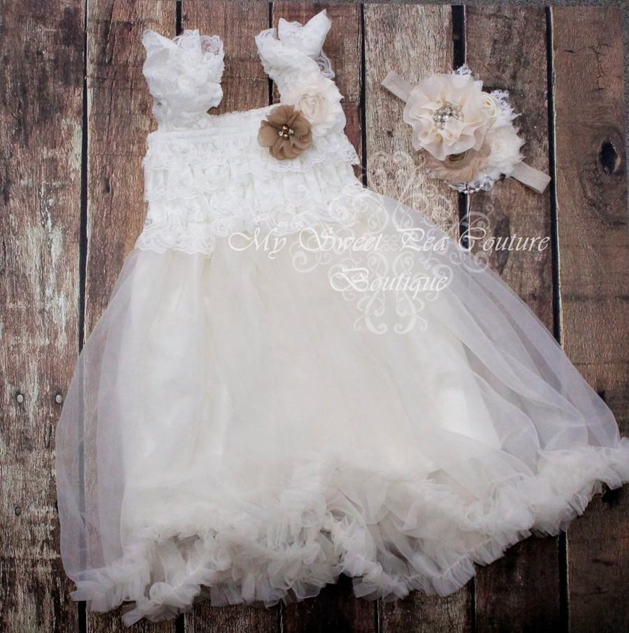 b0e9793708f Vintage Ivory Lace Dress- Custom Colors- Baby Dress- Ivory Dress- Lace Dress-  Chiffon Dress- Ivory Flower Girl Dress- Ivory Birthday Dress