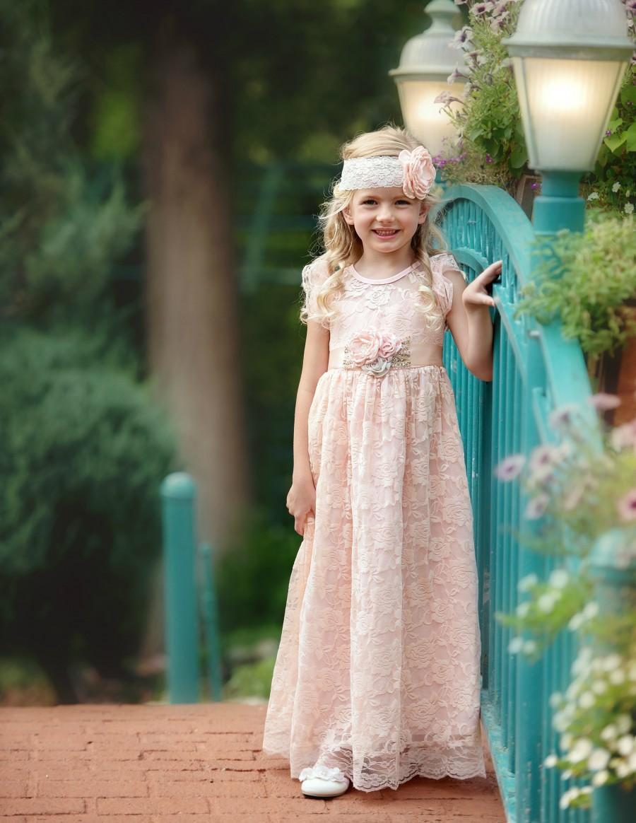1e9f9d5b87033 Blush Pink flower girl dress, flower girl dresses, flower girl lace dresses,  pink toddler dress, baby dress, lace dress, Rustic flower girl