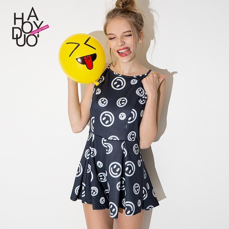 Wedding - Sweet Printed Hollow Out Smiley Face Summer Jumpsuit - Bonny YZOZO Boutique Store