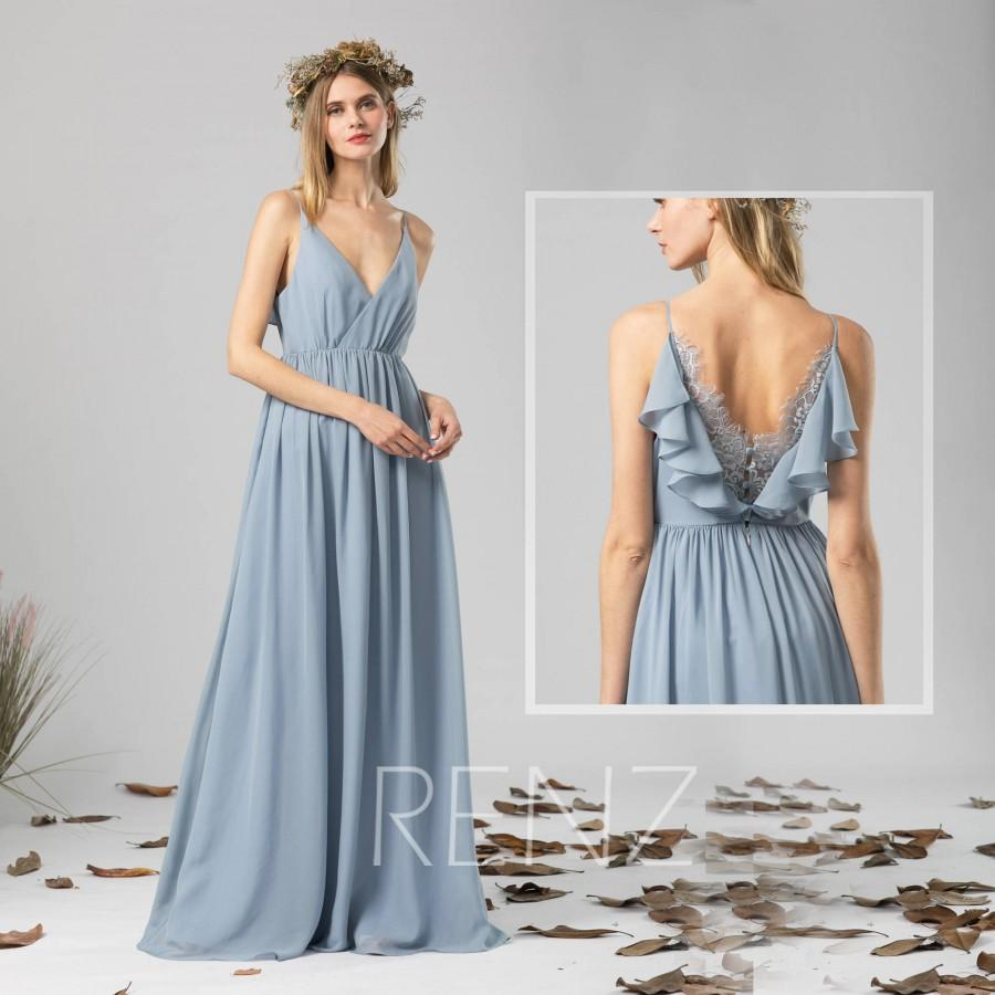 Hochzeit - Bridesmaid Dress Dusty Blue Chiffon Dress,Wedding Dress,V Neck Spaghetti Straps Maxi Dress,Ruffled Back Lace Dress,A-Line Party Dress(H578)