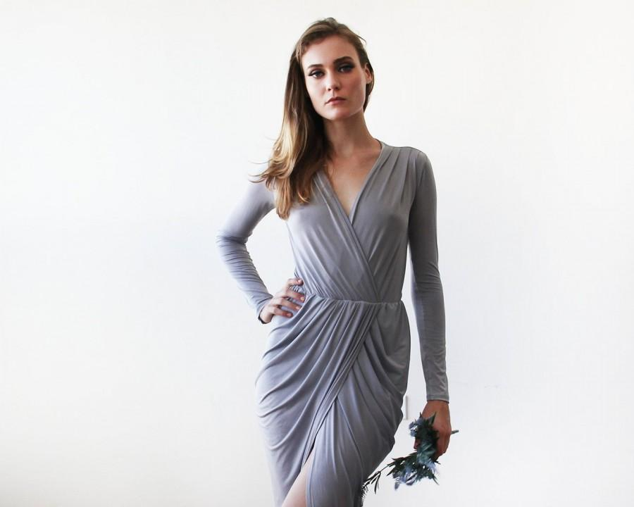 Hochzeit - Light grey tulip wrap long sleeves dress, Long sleeves wrap grey gown 1034