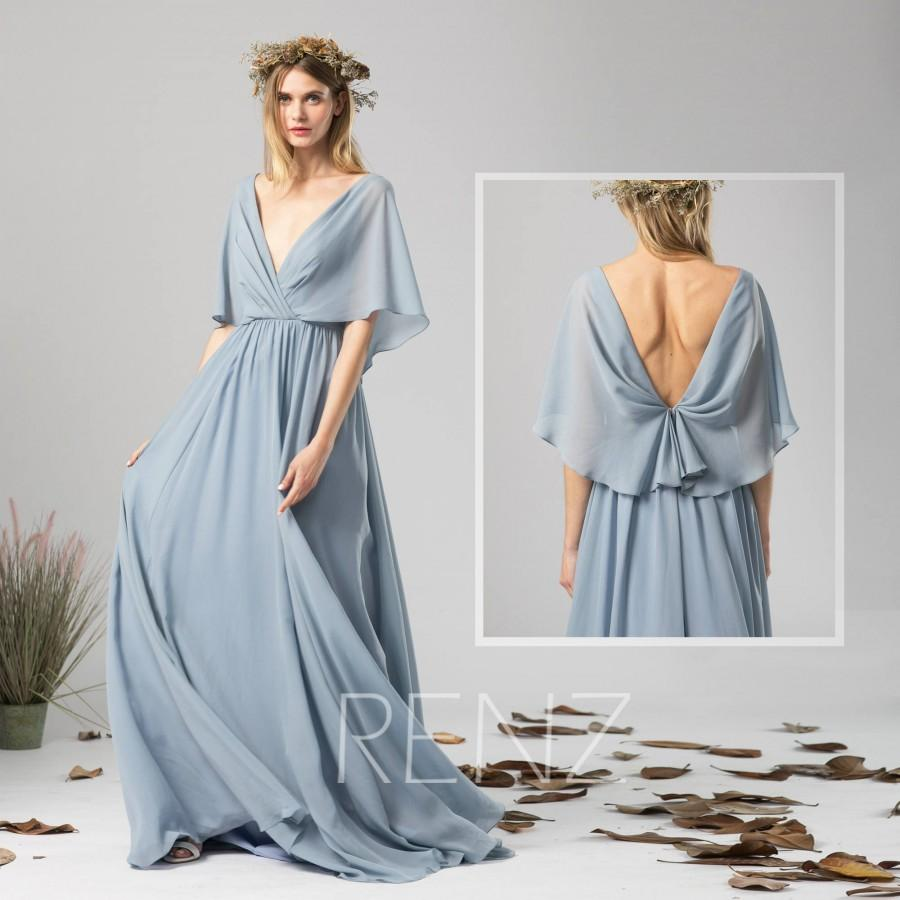 Mariage - Bridesmaid Dress Dusty Blue Chiffon Dress Wedding Dress,V Neck Maxi Dress,Ruffle Sleeves Party Dress,A Line Open Back Evening Dress(H339B)