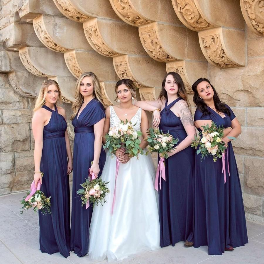 Hochzeit - TDY Navy Blue Maxi Bridesmaid Dress, Convertible Dress, Long Infinity Dress, Multiway Dress, Ball Gown Dress, Full Length Cocktail Dress