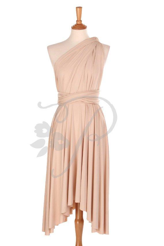 Hochzeit - Bridesmaid Dress Infinity Dress Nude Knee Length Wrap Convertible Dress Wedding Dress