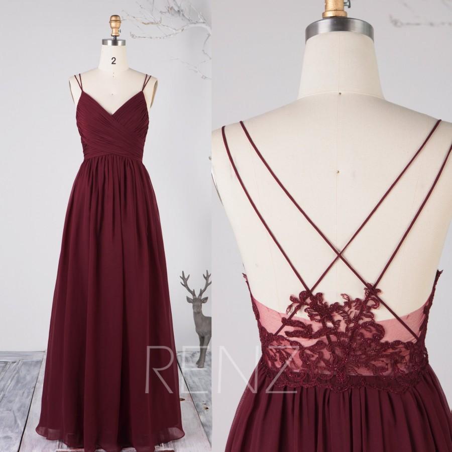 Mariage - Bridesmaid Dress Wine Chiffon Dress,Wedding Dress,Spaghetti Straps Prom Dress,V Neck Maxi Dress,Illusion Lace Open Back Evening Dress(H497B)