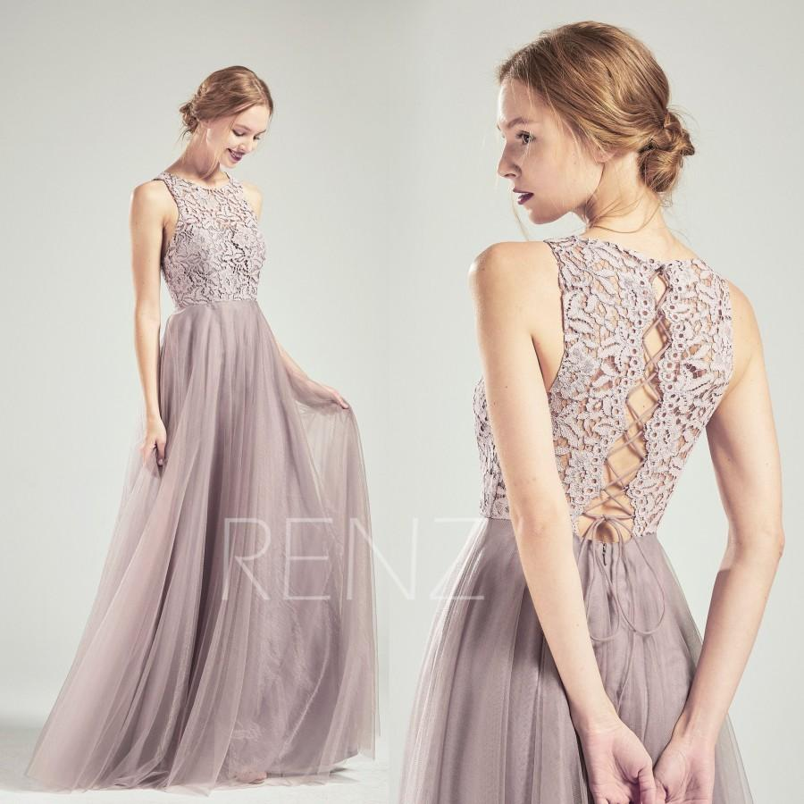 Mariage - Party Dress Dark Mauve Tulle Bridesmaid Dress Lace Prom Dress,Convertible Back Maxi Dress,Boat Neck Illusion Sweetheart Wedding Dress(HS712)