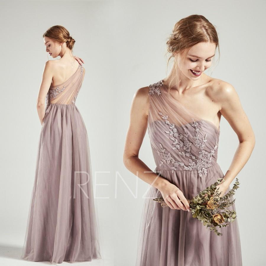 Party Dress Dark Mauve Bridesmaid Dress One Shoulder Tulle