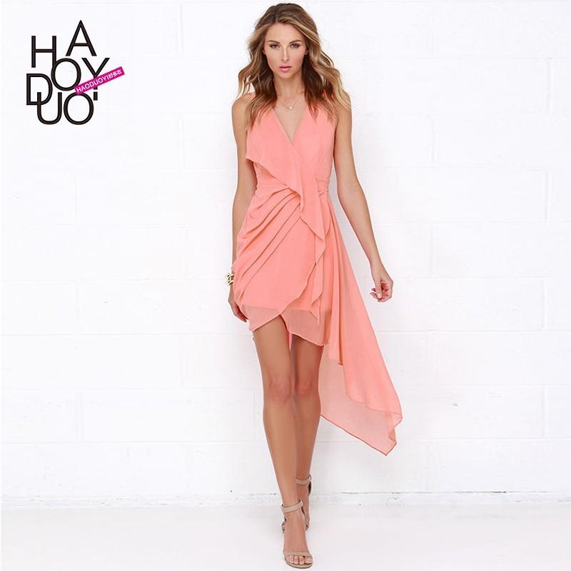 Свадьба - Professional women's high waist folds slim sexy deep v dress irregular wave hem dress - Bonny YZOZO Boutique Store