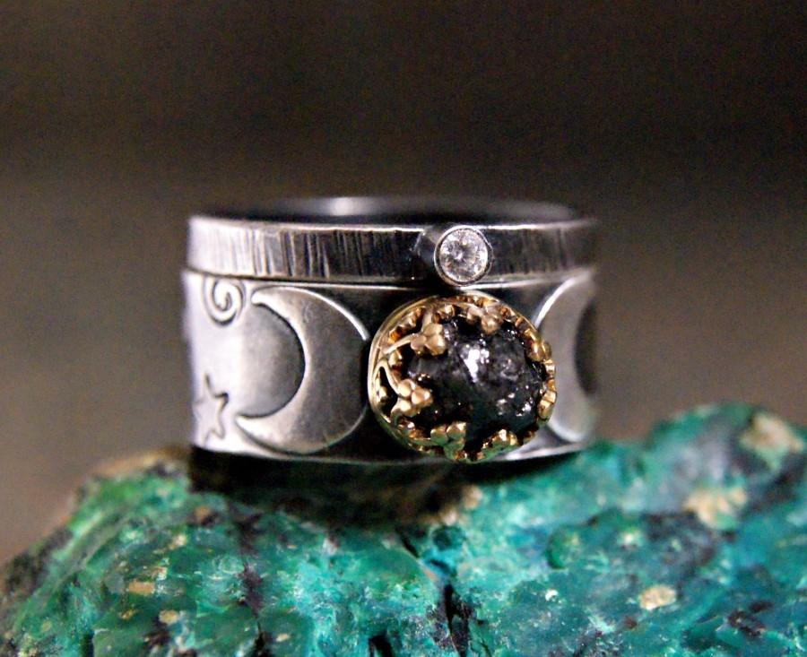 Mariage - Crescent Moon Rough Black Diamond Wedding Set Two Tone Custom Made Engagement Ring Wide Band Celestial Jewelry Two Ring Set For Her
