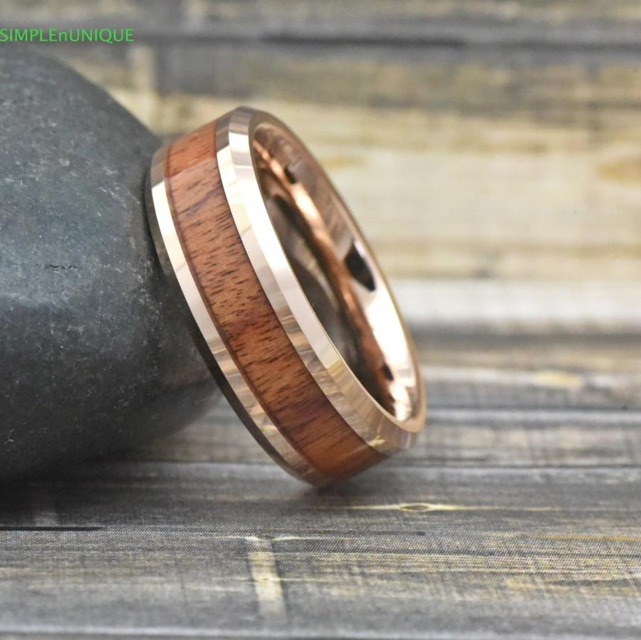 Wedding - Rose Gold Wood Wedding Band Mens, Mens Rose Gold Wedding Band Wood, Wedding Band Hawaiian Koa Wood Inaly Tungsten Wedding Ring Mens