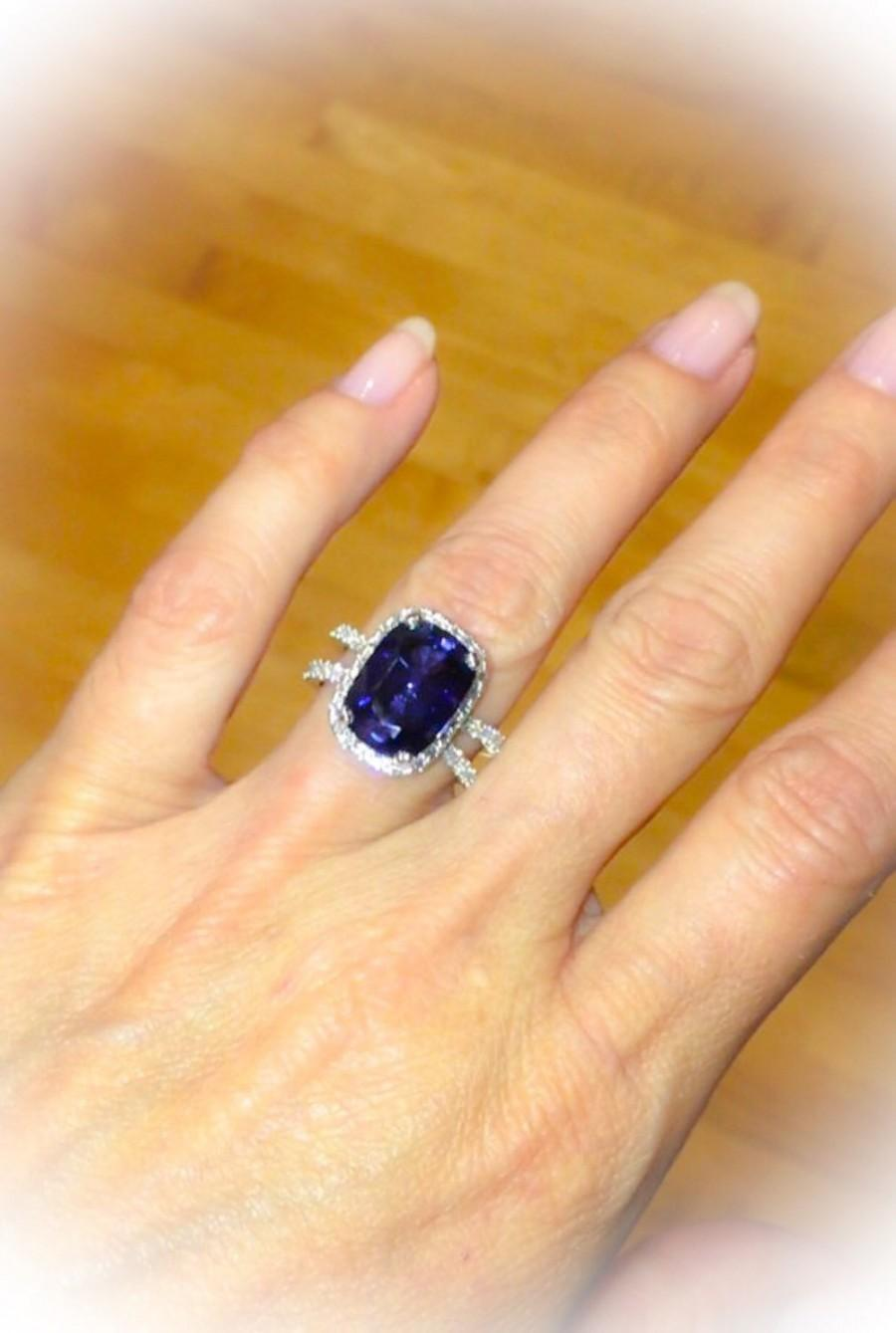 Wedding - Sapphire Halo Engagement Ring 14kt White Gold 13x9 Ceylon Blue Sapphire Cushion Cut Diamonds Split Shank Wedding Ring Pristine Custom Rings