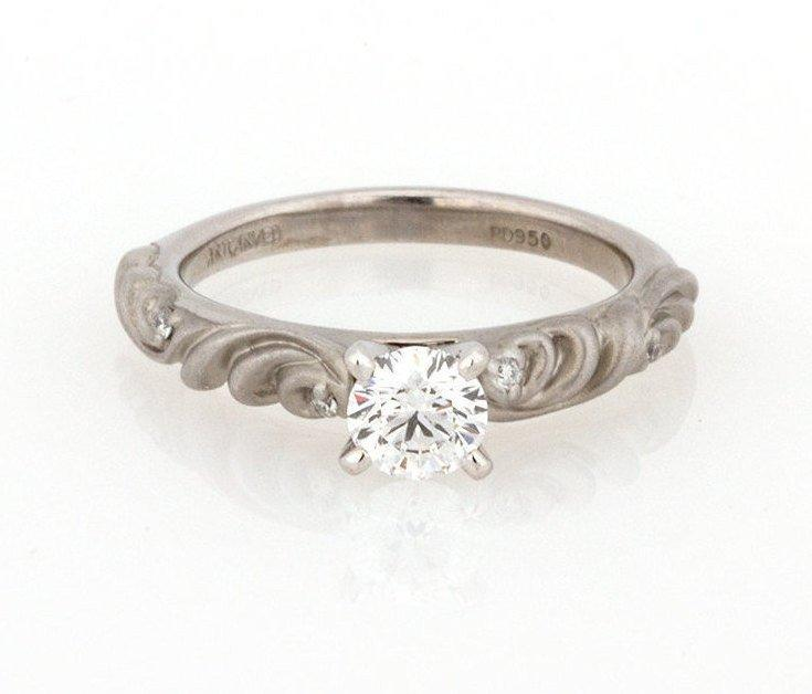 Wedding - GIA Certified Vintage Palladium Solitaire Diamond Engagement Ring 0.37 CTW GIA Certified E VS1