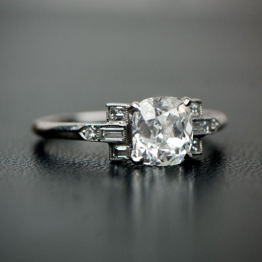 Hochzeit - 1.50 Carat Antique Cushion Cut Diamond Engagement Ring GIA Certified