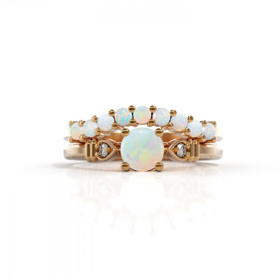Hochzeit - Set Opal engagement ring opal diamond ring October birthstone 14k opal ring gold White Opal Matching Wedding Band Women Halo Unique Marquise