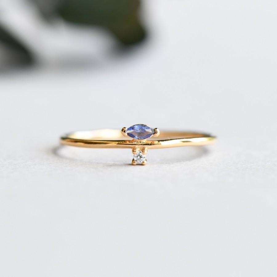 Hochzeit - 14k Gold Vermeil Marquise Ring, 925 Sterling Silver, Blue Marquise Stacker Ring, Roseandchoc Ring, Dainty Ring, Minimalist Ring